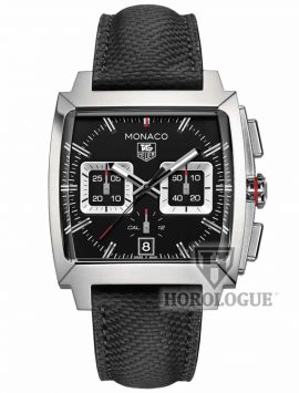 Black Tag Heuer watch with square chronograph subdials