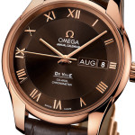 side picture of omega deville with gold hour markings
