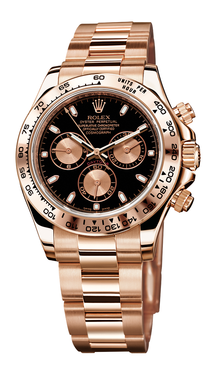 rose gold with black dial Rolex
