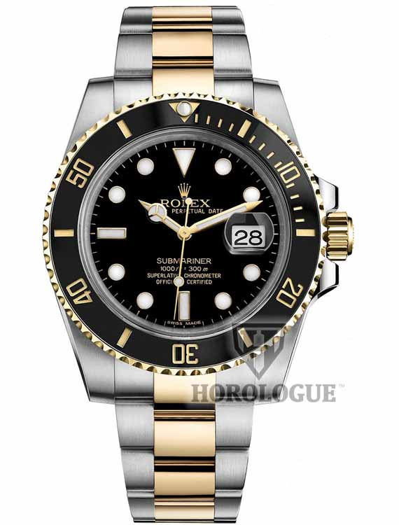 Submariner with black ceramic bezel and two tone band