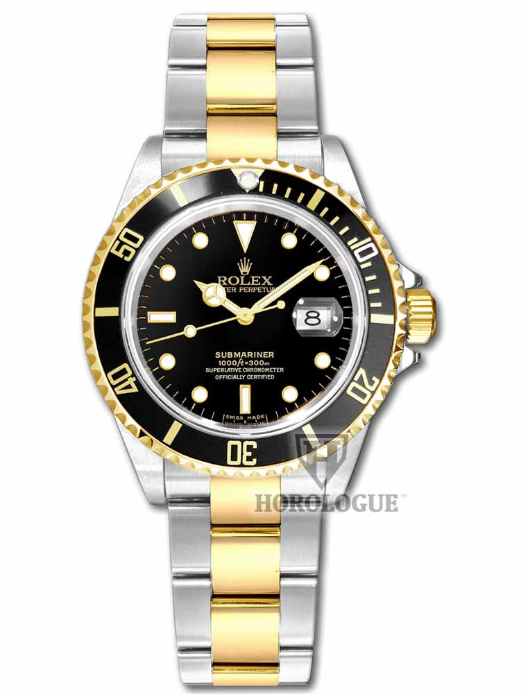 Two Tone, Black Dial Rolex Submariner Picture