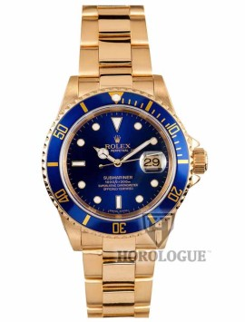 18k Gold Submariner with blue dial