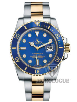 Two tone band and blue dial with diamonds submariner
