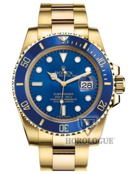 18K yellow gold submariner with blue dial and blue bezel