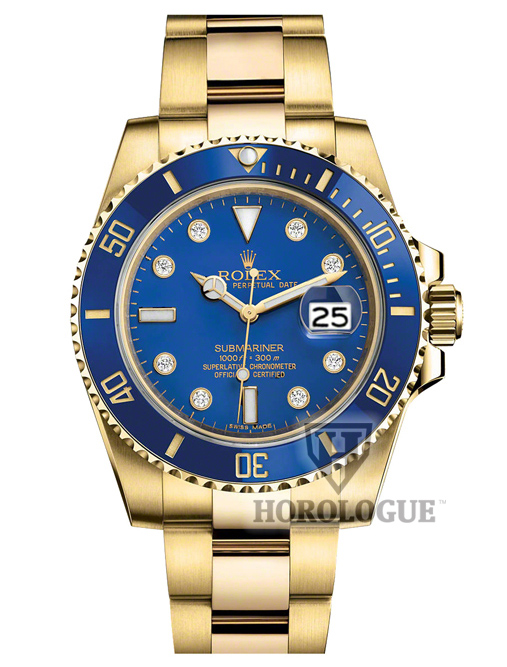 18K gold submariner with 8 diamonds on dial