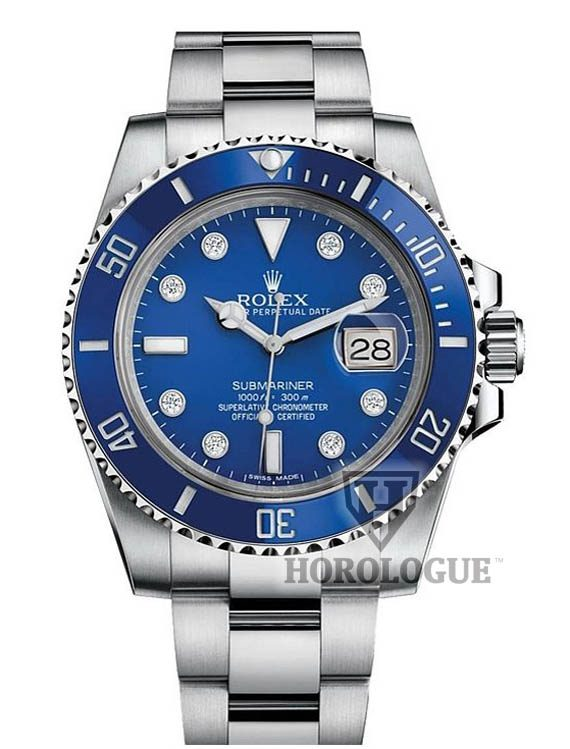 blue rolex submariner with diamonds on dial