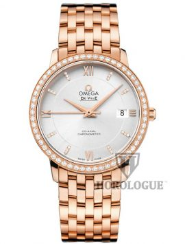 Rose Gold Omega De Ville Prestige with diamond bezel