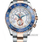 Gold and steel yachtmaster with blue bezel