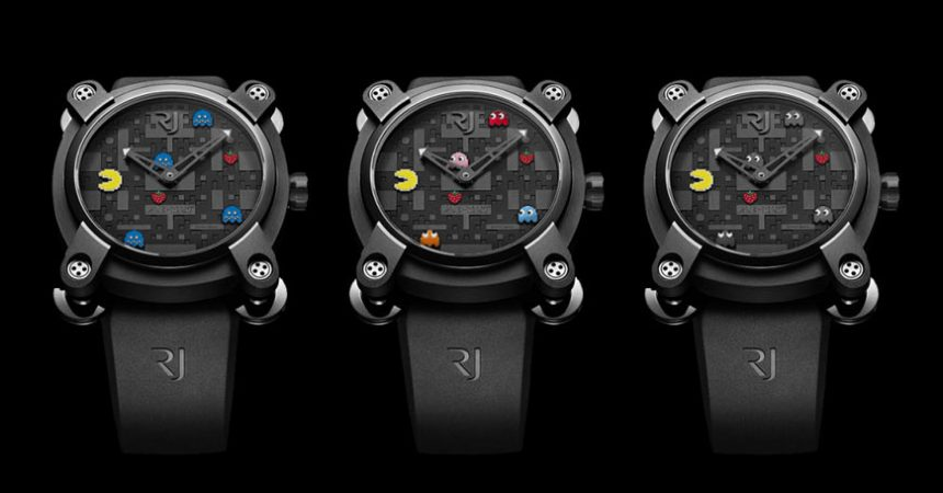 3 black romain jerome watches with pac-man theme