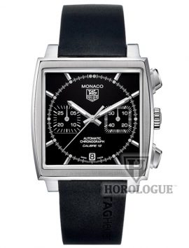 Black Tag Heuer Monaco 39mm Calibre 12 with Rubber Strap