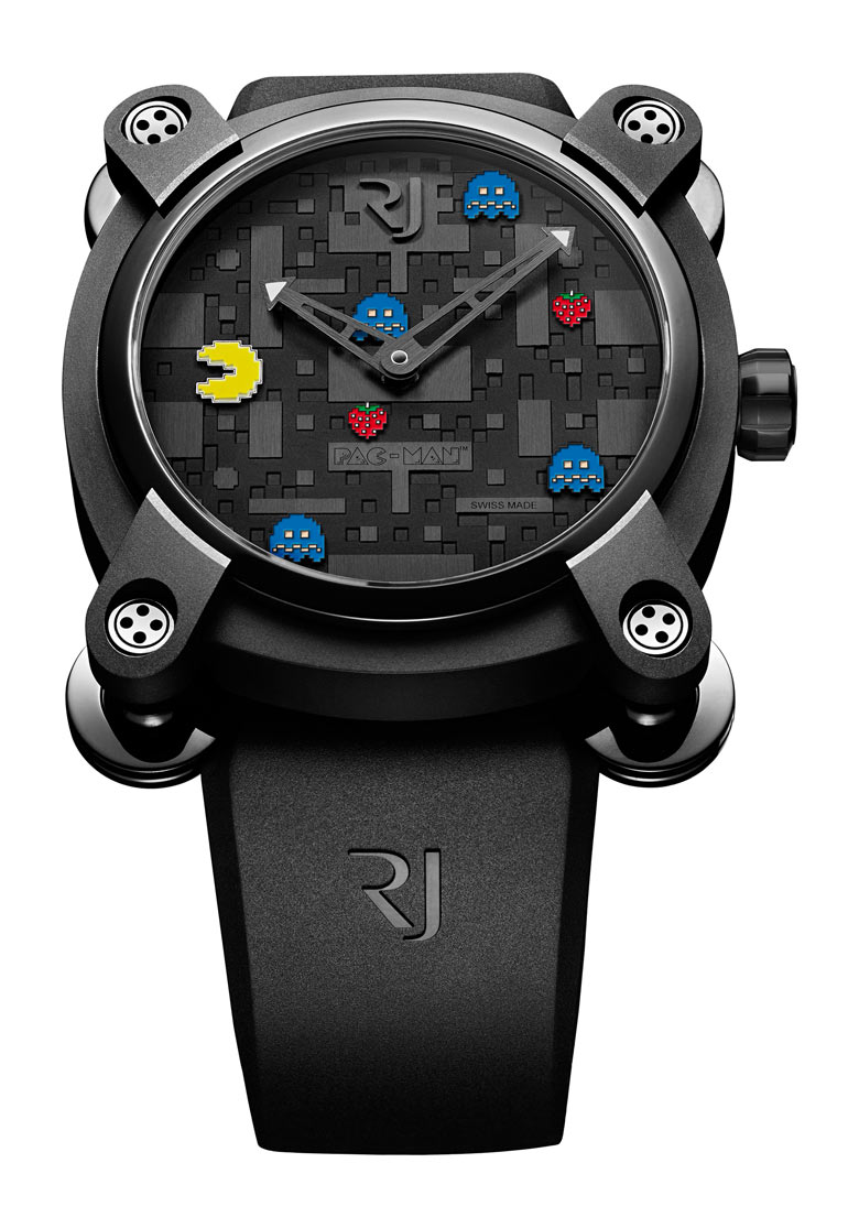 black pac-man watch on white background