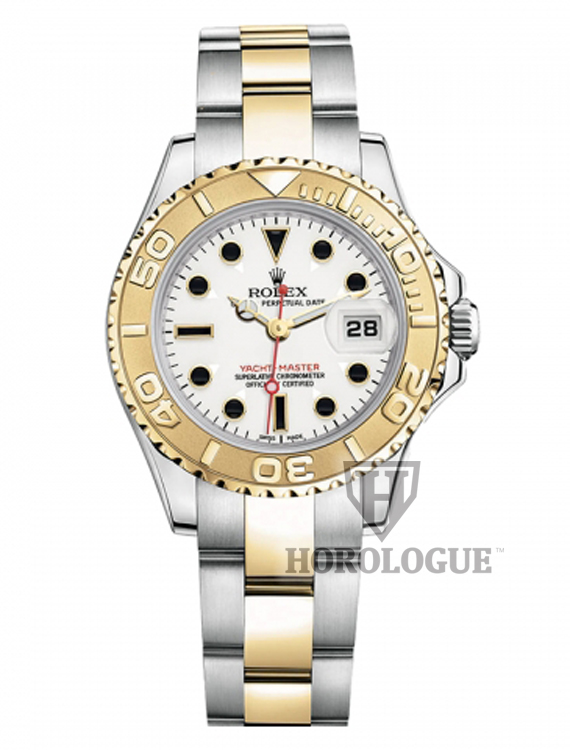 Ladies Yacht-Master two tone watch with white dial