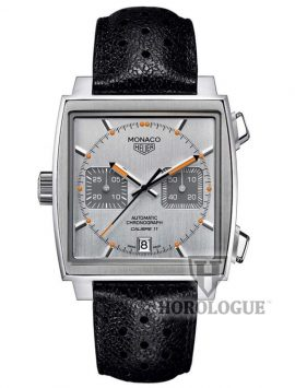 Grey Tag Heuer Monaco Calibre 11 watch with orange hands