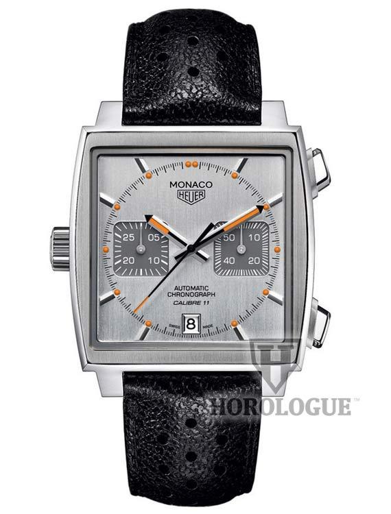 Grey Tag Heuer Monaco Calibre 11 watch with orange hands