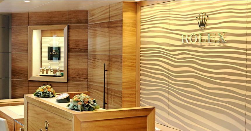 Rolex watches boutique with wooden style walls