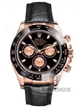 Rolex Daytona watch with everose case, black dial, black bezel and black leather band