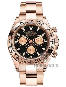 18k Rose gold daytona watch with gold chronograph subdials and black dial