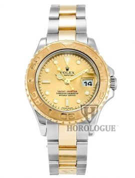 29mm Gold dial ladies Rolex Yacht-Master watch with two tone band
