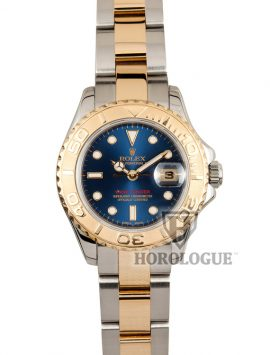 Two tone band and blue dial ladies rolex yacht-master watch