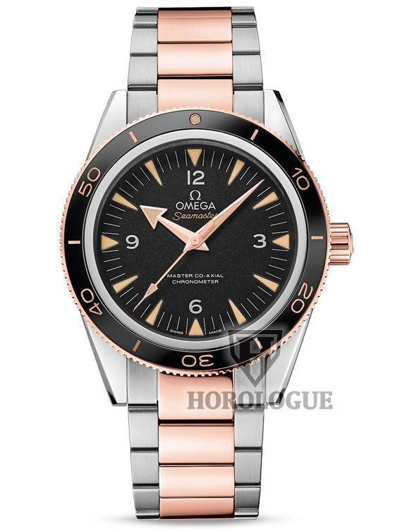 Two tone Omega Seamaster 300 Master with black dial and gold hands