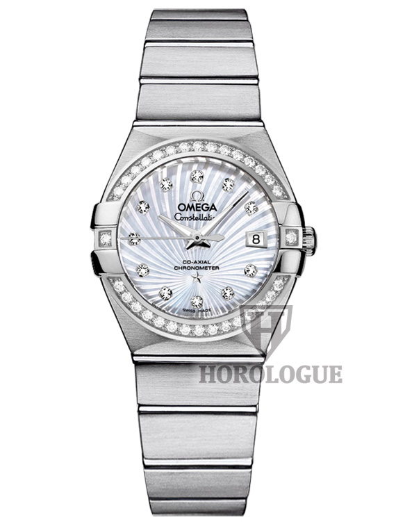 light blue dial Omega Constellation Ladies Watch with diamond bezel and stainless steel band