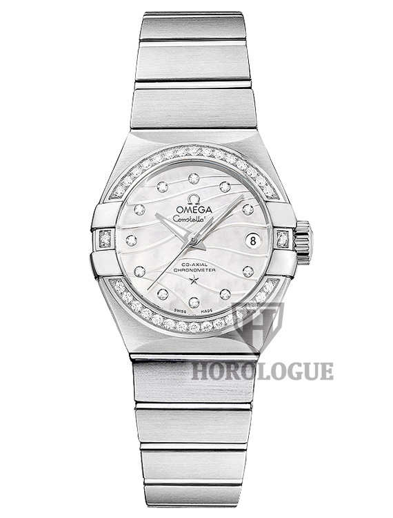 Stainless Steel Omega Constellation ladies watch with mother of perl dial