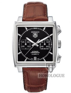 Black Tag Heuer CAW2110.FC6178 with brown leather band