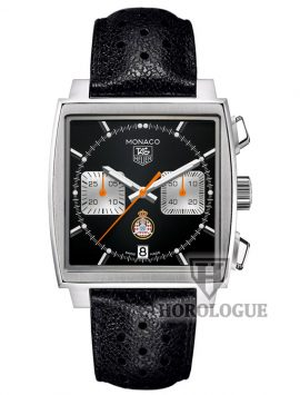 Black tag heuer monaco model CAW211K.FC6241 with black strap
