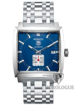 Stainless steel tag heuer model WW2111.BA0780 with blue dial and white chronograph at 6 o'clock