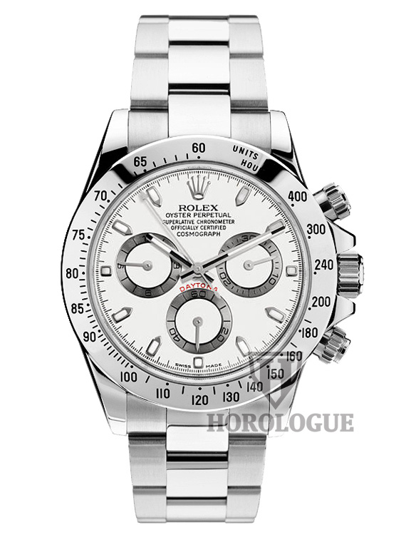 rolex daytona model 116520WSO with white dial and stainless steel band