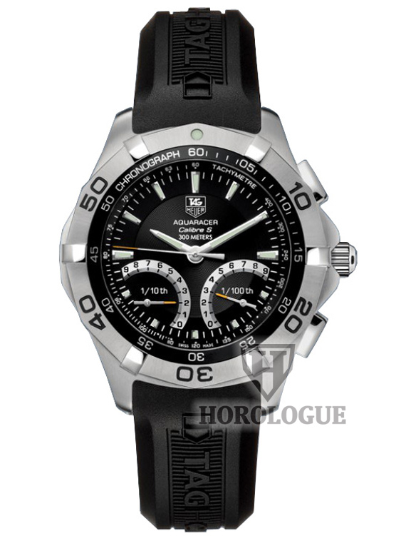 Quartz Tag Heuer Aquaracer watch with black dial and rubber band