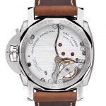 Transparent back of the Panerai watch with mechanism