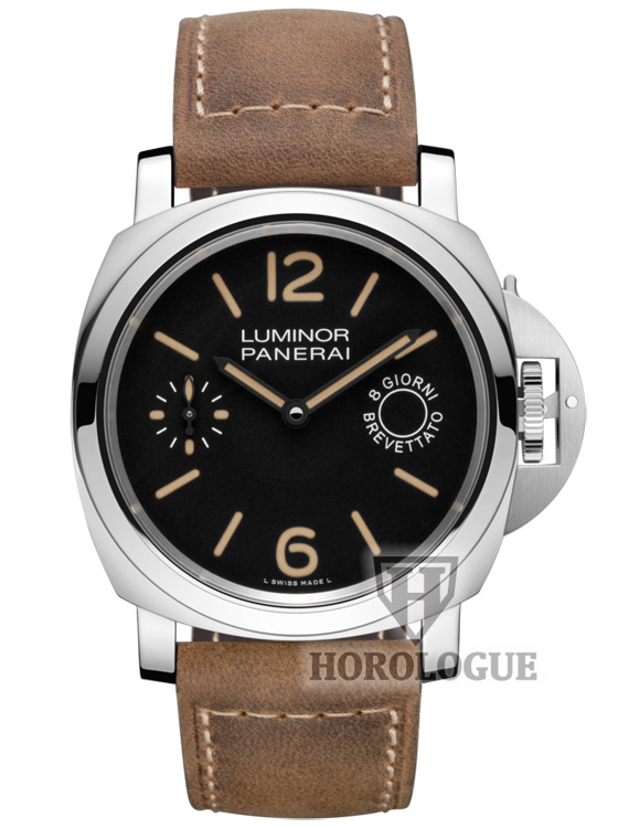 Black Dial Tan Leather Strap Luminor Marina Watch