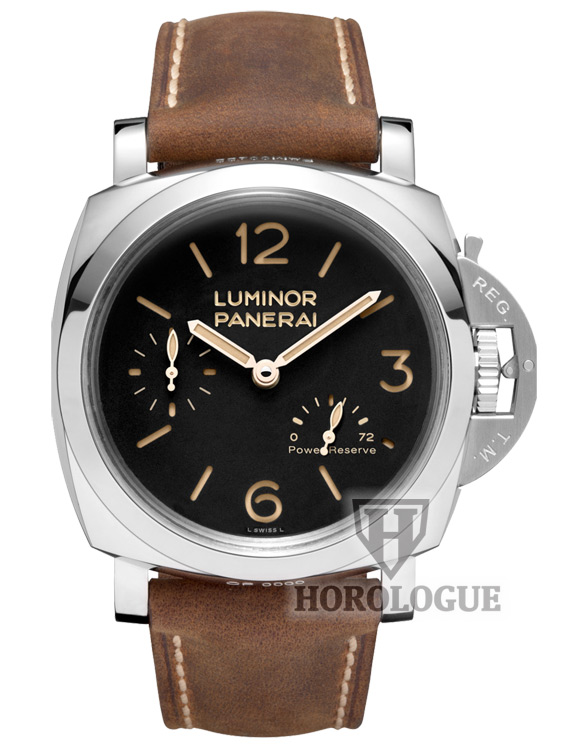 Black Dial Panerai Luminor watch with power reserve hand and brown Assolutamente calf leather