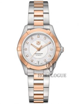 Two tone ladies aquaracer Tag Heuer watch with diamond hour marks