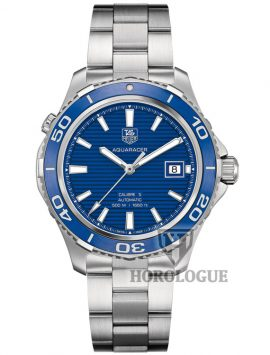 Aquaracer watch model with blue dial and blue ceramic bezel