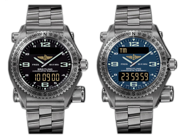Black and Blue Breitling Emergency Watches