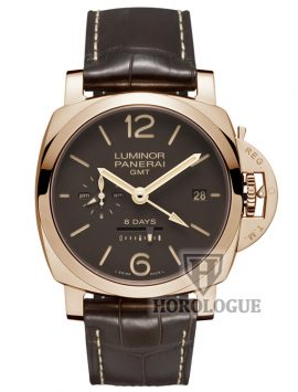 Rose gold panerai watch with brown leather strap