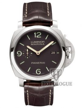 Brown panerai watch with brown Alligator strap