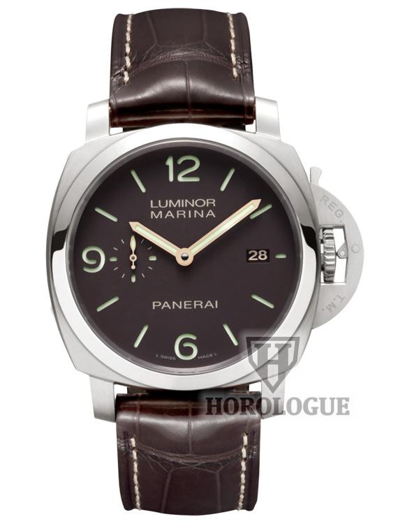 Brown panerai watch with brown Alligator strap