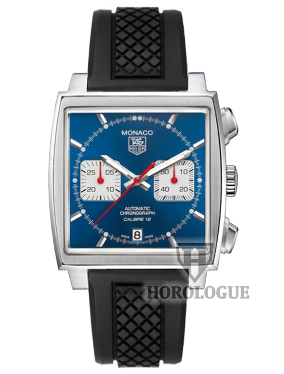 Blue Tag Heuer Monaco Calibre 12 with white chrono subdials