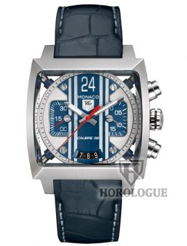 tag heuer McQueen ``Le Mans`` watch with black leather strap