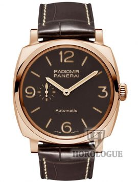 watch equipped with Rose gold case with brown fial