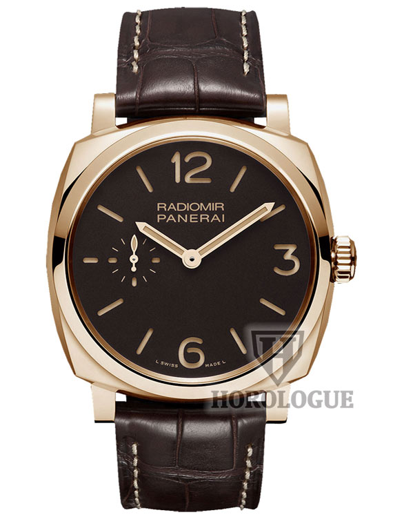Red gold panerai watch with brown leather band