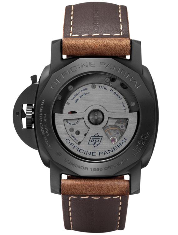 back see-through case of black ceramic panerai watch