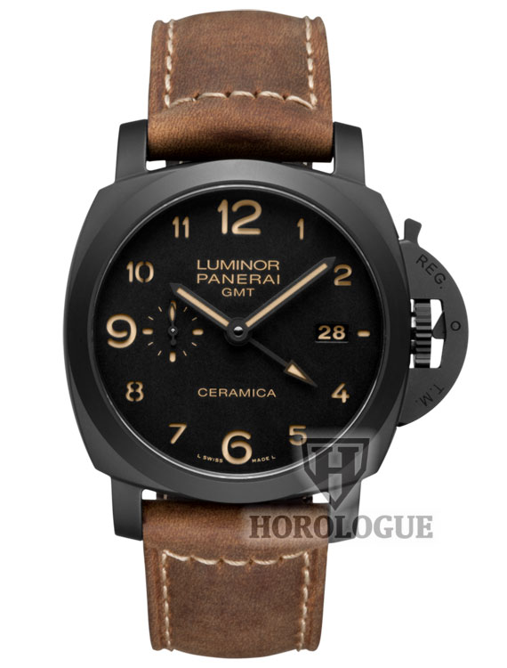 black ceramic Panerai Luminor 1950 watch with brown leather strap