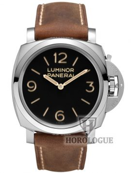 Black dial Panerai Luminor watch with brown leather strap