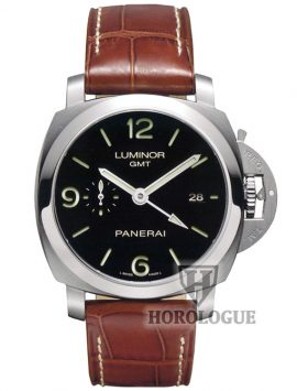 Steel bezel, black dial panerai Luminor 1950 model with GMT hand