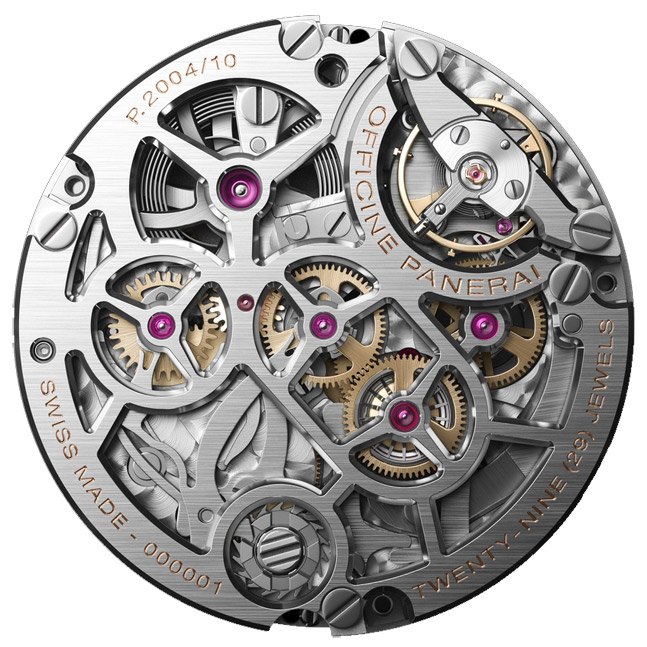 Manually winded p.2004 movement back