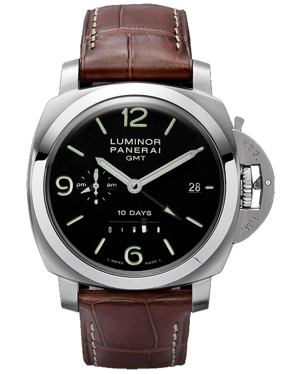 black dial panerai with power reserve indicator